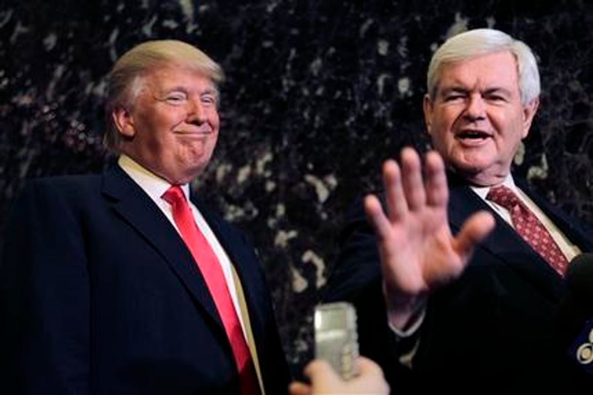 FILE - Donald Trump smiles at left as Republican presidential candidate, former House Speaker Newt Gingrich talks to media after their meeting in New York, in this Dec. 5, 2011 file photo. Real estate mogul and reality show star Donald Trump intends to endorse Gingrich's GOP presidential bid, according to a source close to Gingrich's campaign. Trump is set to announce his support Thursday Feb. 2, 2012 in Las Vegas, where Gingrich is campaigning in advance of Nevada's Republican caucuses on Saturday. (AP Photo/Seth Wenig, File) (AP)