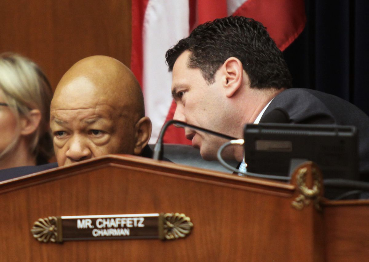 House Committee on Oversight and Government Reform Committee Chairman Rep. Jason Chaffetz, R-Utah, right, talks to the committee's ranking member Rep. Elijah Cummings, D-Md., on Capitol Hill in Washington, Wednesday, June 15, 2016,. (AP)