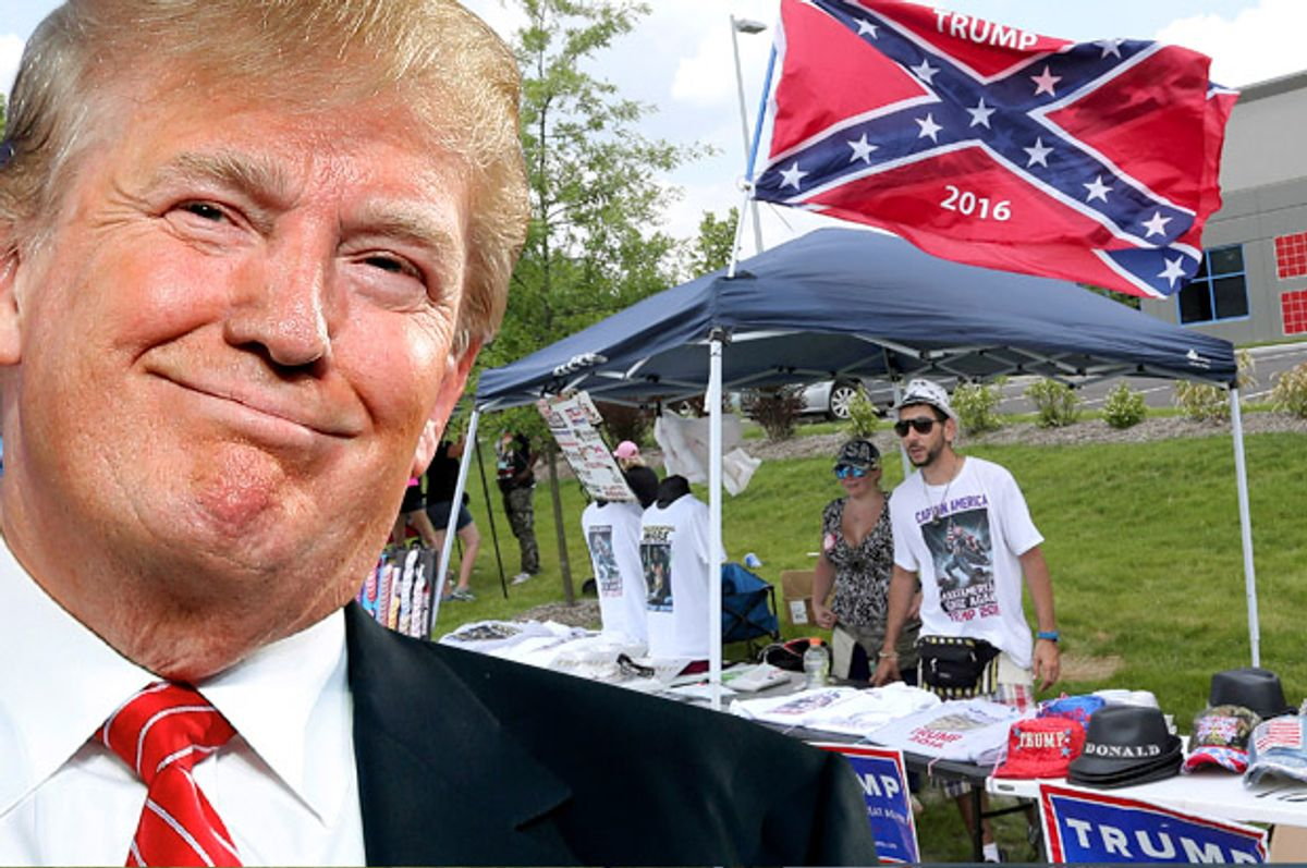 Donald Trump; A vendor at a Donald Trump rally in Pittsburgh, June 11, 2016.    (AP/Andrew Harnik/Reuters/Aaron Josefczyk/Photo montage by Salon)