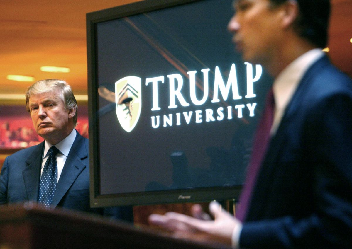 In 2005, Donald Trump announces the formation of Trump University with  Michael Sexton  (AP)