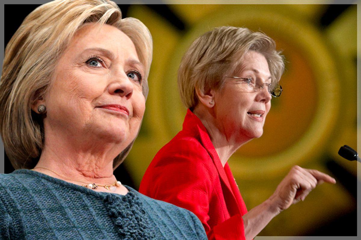 Hillary Clinton, Elizabeth Warren   (Reuters/Brian Snyder/AP/Pablo Martinez Monsivais/Photo montage by Salon)
