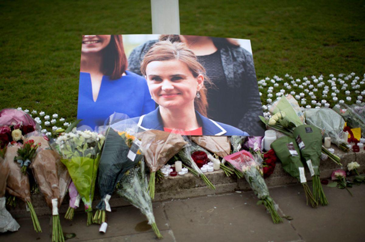 A memorial for Jo Cox outside the House of Parliament in London, June 17, 2016.    (AP/Matt Dunham)