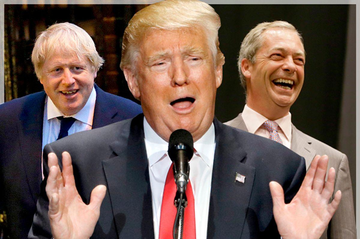 Boris Johnson, Donald Trump, Nigel Farage   (AP/Reuters/Matt Dunham/Scott Audette/Kirsty Wigglesworth/Photo montage by Salon)