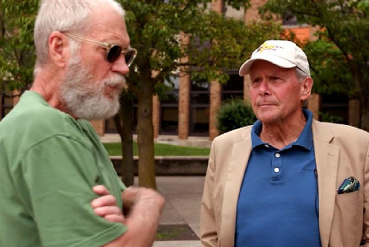 David Letterman, Tom Brokaw (Credit: NBC)