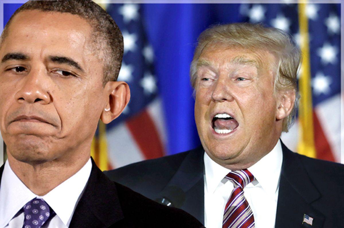 Barack Obama, Donald Trump   (Reuters/Yuri Gripas/Carlo Allegri/Photo montage by Salon)