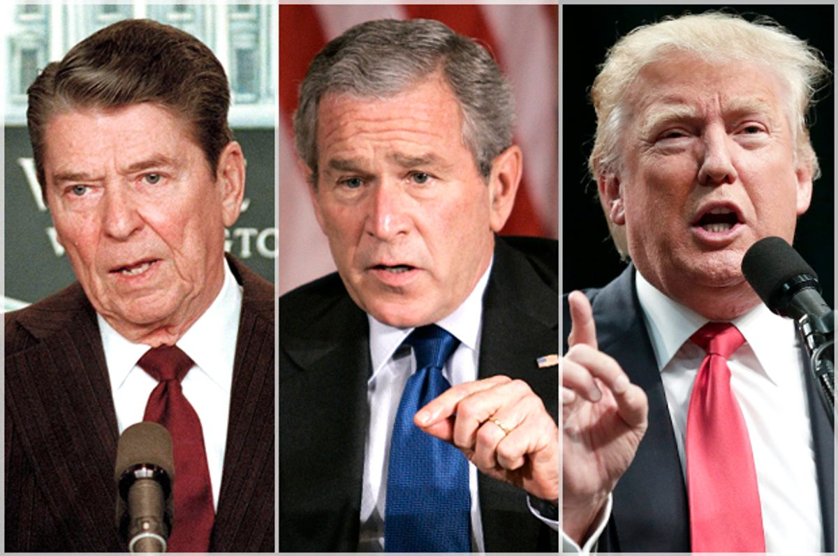 Ronald Reagan, George W. Bush, Donald Trump   (AP/Bob Dougherty/Charles Dharapak/Chris Carlson)
