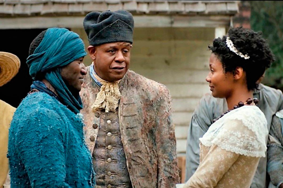 """Malachi Kirby, Forest Whitaker and Emayatzy Corinealdi in """"Roots"""" (The History Channel)"""