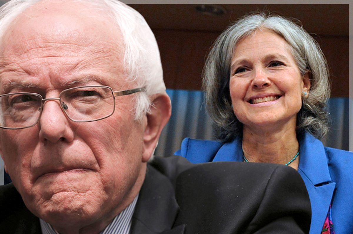 Bernie Sanders, Jill Stein   (Reuters/Lucas Jackson/Jonathan Ernst/Photo montage by Salon)
