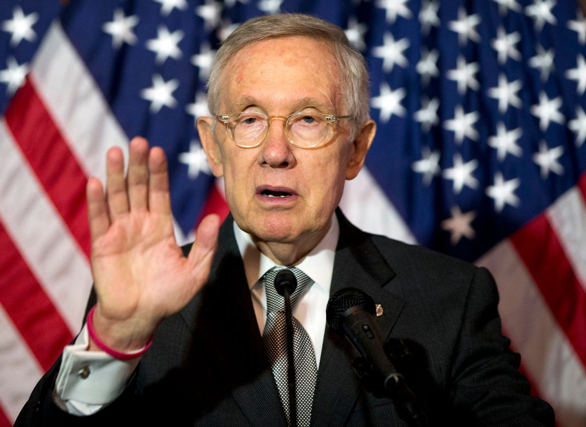 In this June 9, 2016, photo, Senate Minority Leader Harry Reid of Nev., speaks during a news conference on Capitol Hill in Washington.  (AP)