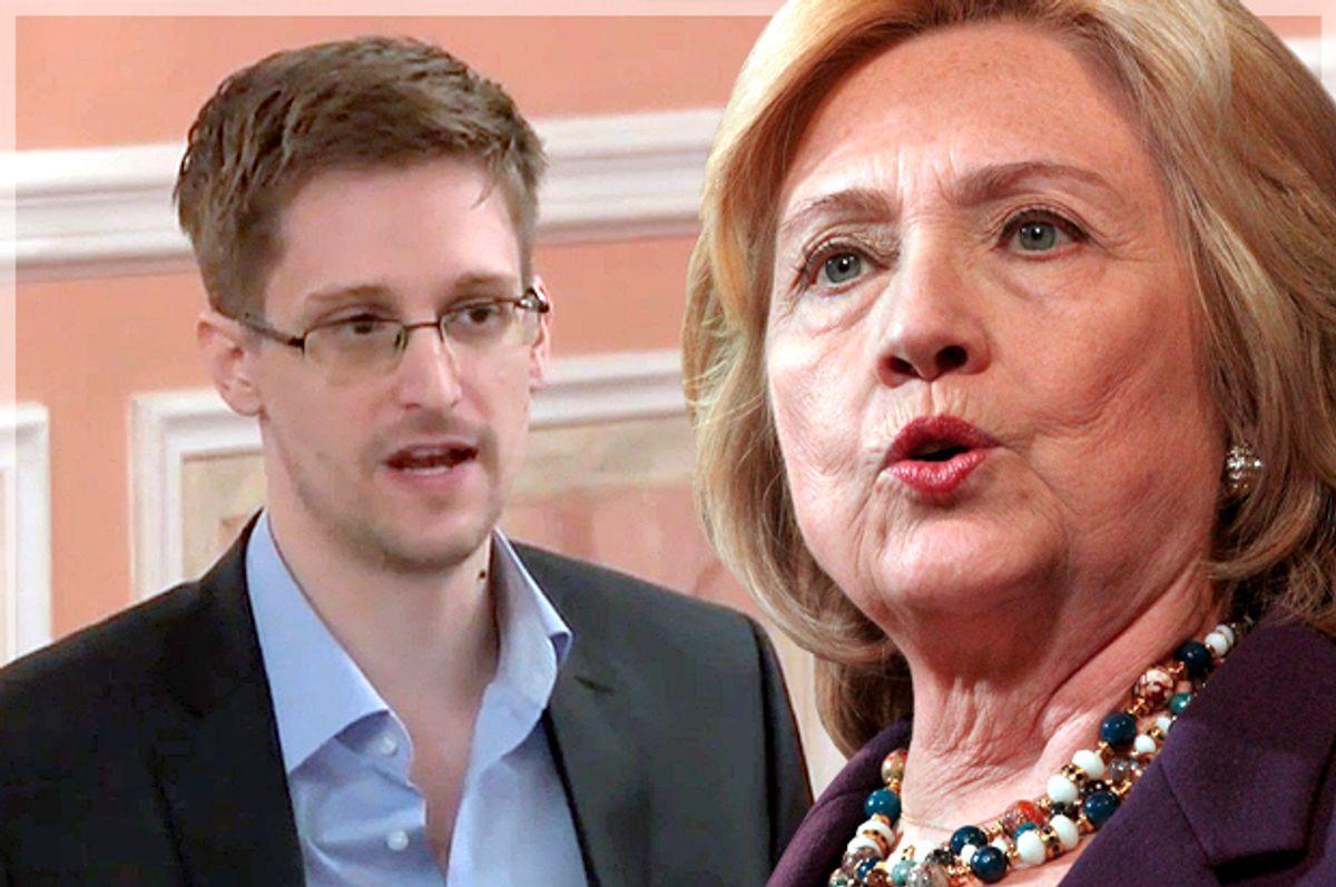 Edward Snowden, Hillary Clinton   (AP/Reuters/Mary Schwalm/Photo montage by Salon)