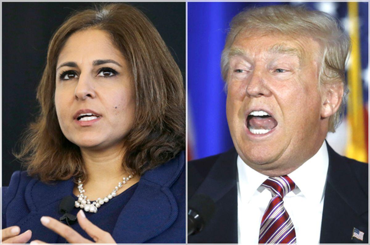 Neera Tanden, Donald Trump   (AP/Mel Evans/Reuters/Carlo Allegri)