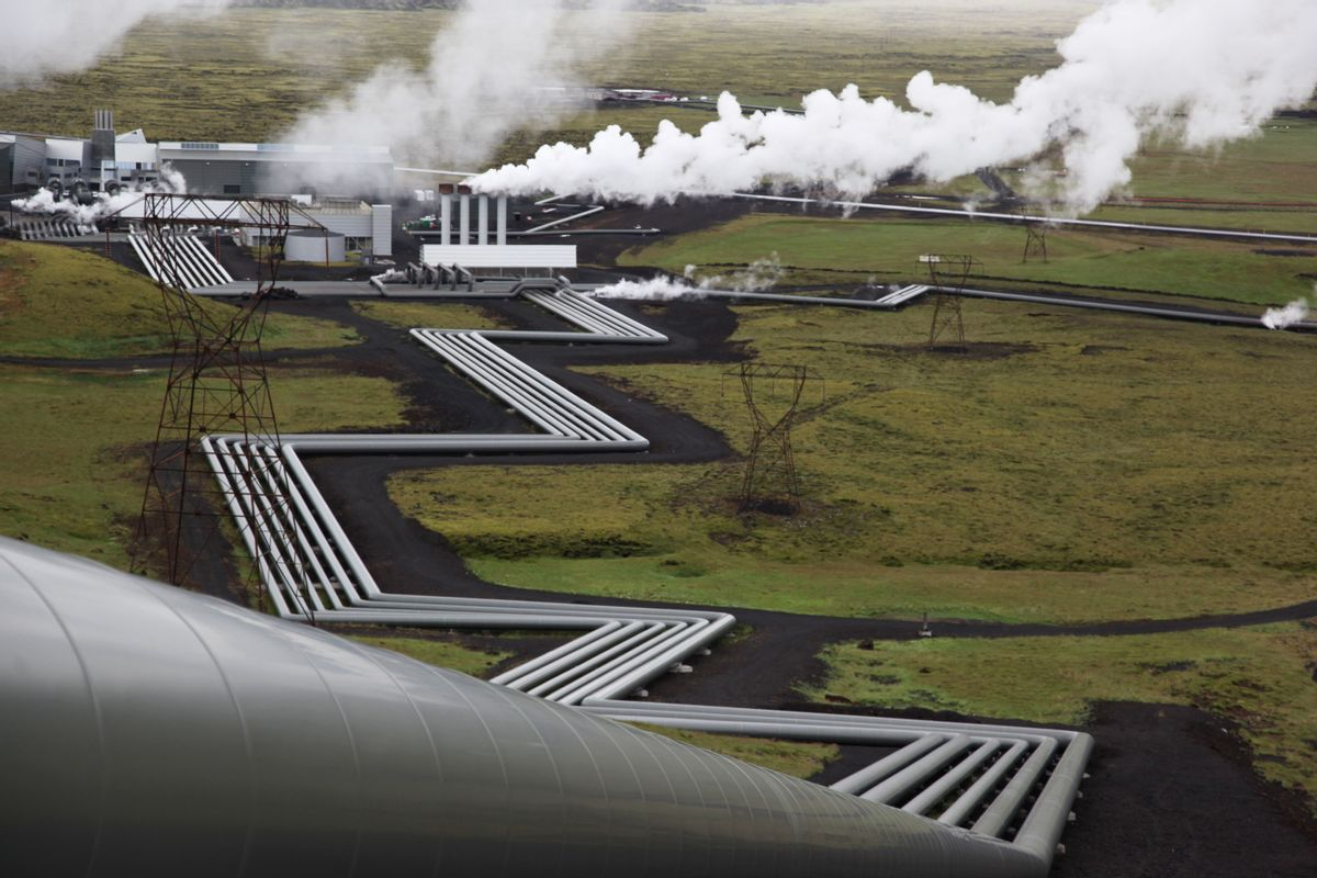 FILE - In this July 28, 2011 file photo, giant ducts carry superheated steam from within a volcanic field to the turbines at Reykjavik Energy's Hellisheidi geothermal power plant in Iceland. (AP Photo/Brennan Linsley, Fie) (AP)