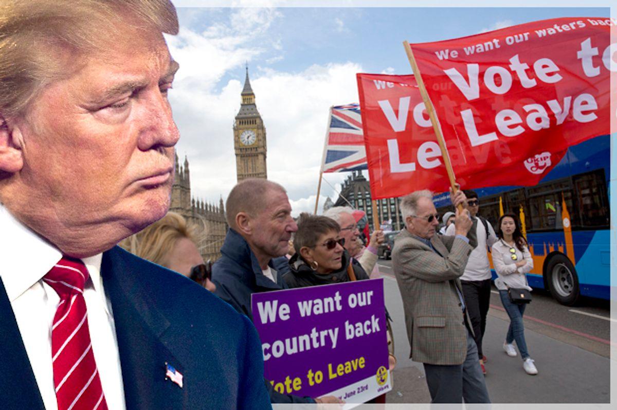Donald Trump; Leave supporters in London, June 15, 2016.   (Reuters/L.E. Baskow/AP/Matt Dunham/Photo montage by Salon)