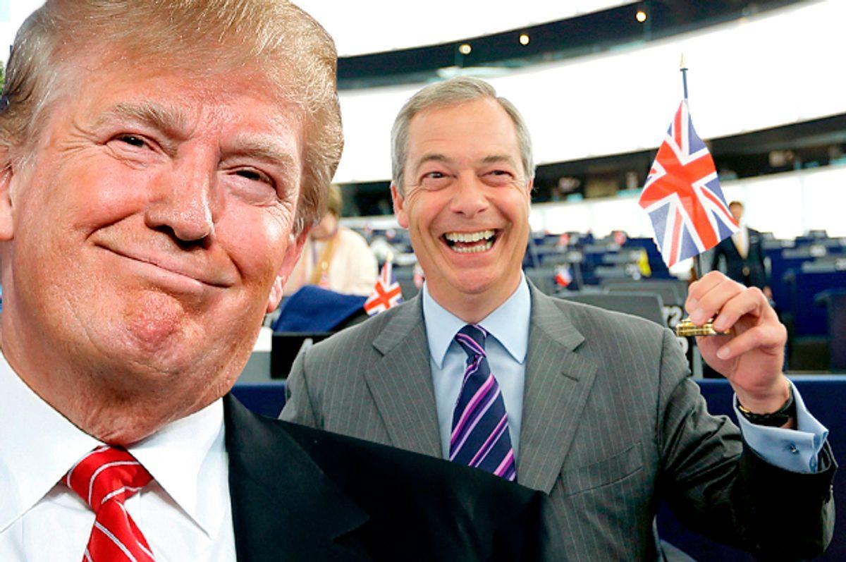 Donald Trump, Nigel Farage   (AP/Andrew Harnik/Reuters/Vincent Kessler/Photo montage by Salon)