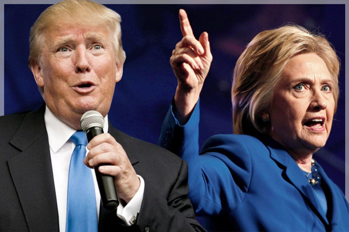 Donald Trump, Hillary Clinton   (Reuters/Dominick Reuter/Gary Cameron/Photo montage by Salon)