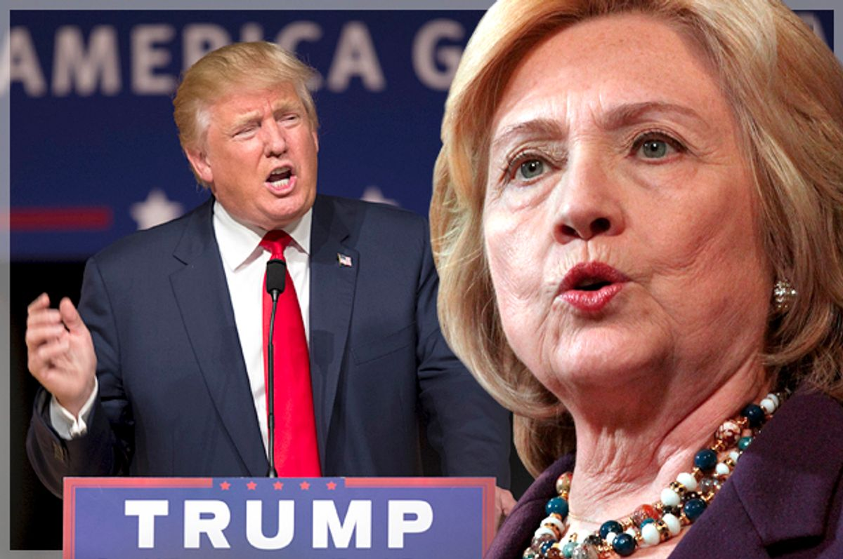 Donald Trump, Hillary Clinton   (Reuters/Scott Morgan/Mary Schwalm/Photo montage by Salon)