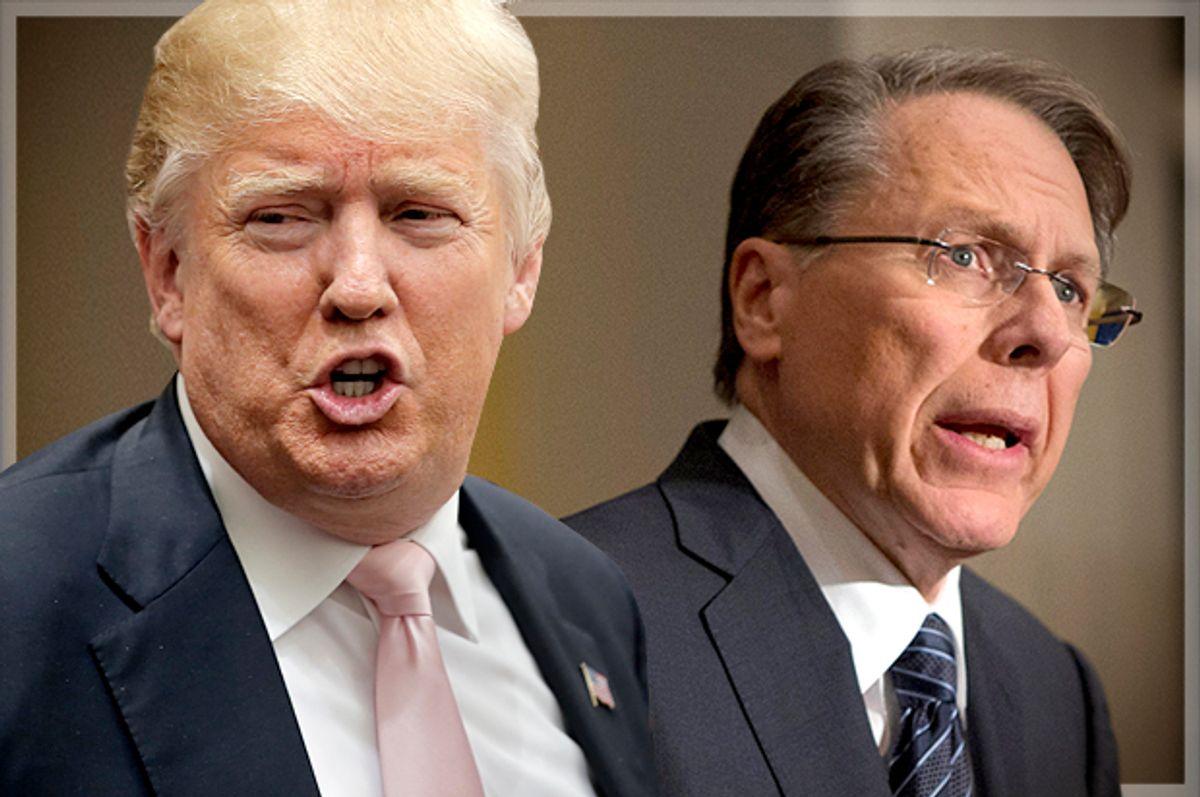 Donald Trump, Wayne LaPierre   (Reuters/Chris Keane/AP/Evan Vucci/Photo montage by Salon)