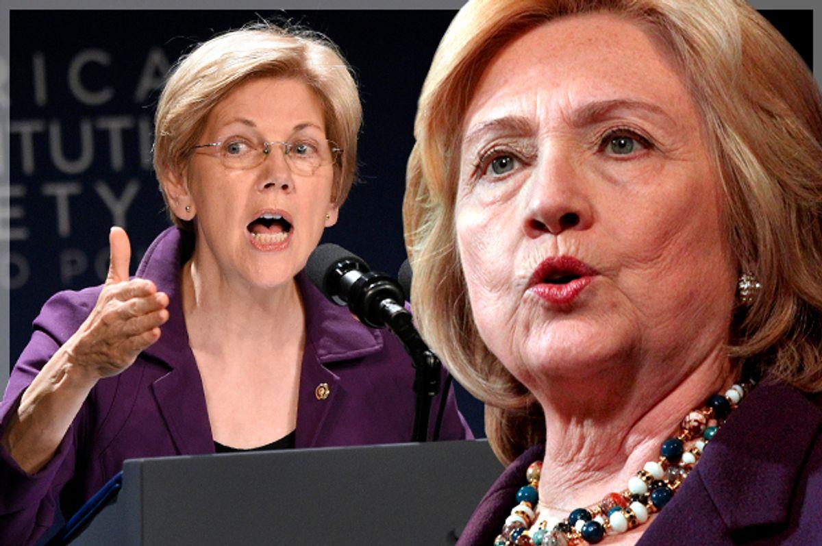 Elizabeth Warren, Hillary Clinton   (Reuters/Mary Schwalm/Mark Kauzlarich/Photo montage by Salon)