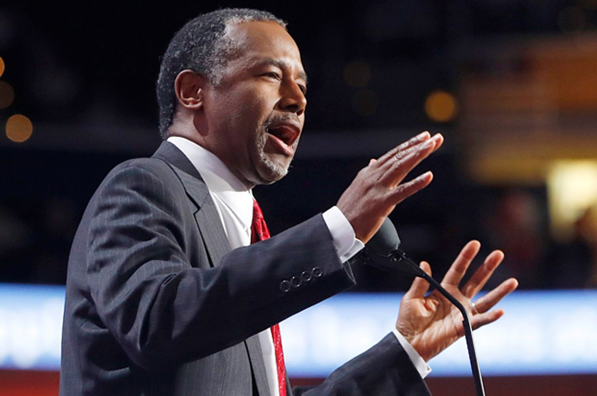 Ben Carson speaks at the Republican National Convention in Cleveland, July 19, 2016.   (Reuters/Aaron P. Bernstein)