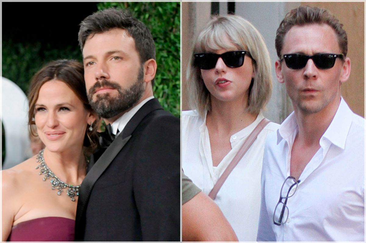 Jennifer Garner, Ben Affleck; Taylor Swift, Tom Hiddleston   (AP/Evan Agostini/Star Max)