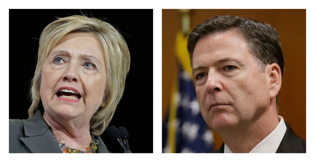 Democratic presidential candidate Hillary Clinton, left, and FBI Director James. Comey.  (AP Photo/File)