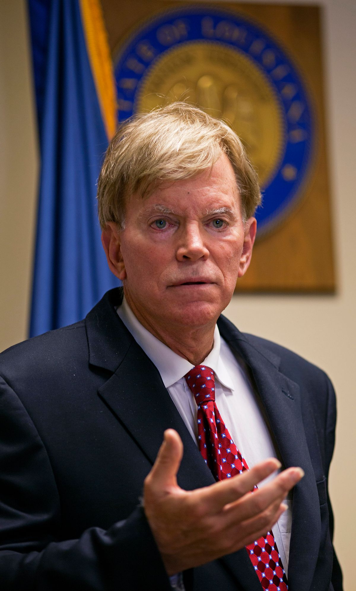 """Former Ku Klux Klan leader David Duke talks to the media at the Louisiana Secretary of State's office in Baton Rouge, La., on Friday, March 22, 2016, after registering to run for the U.S. Senate, saying """"the climate of this country has moved in my direction."""" Duke's candidacy comes one day after Donald Trump accepted the GOP nomination for president, and Duke said he's espoused principles for years that are similar to the themes Republicans are now supporting in Trump's campaign, on issues such as immigration and trade. (AP Photo/Max Becherer) (AP)"""