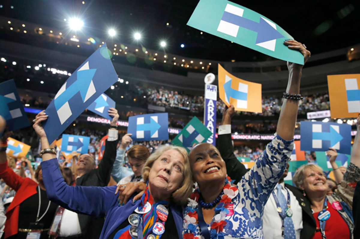 Delegates celebrate at the Democratic National Convention in Philadelphia, July 26, 2016.   (Reuters/Jim Young)