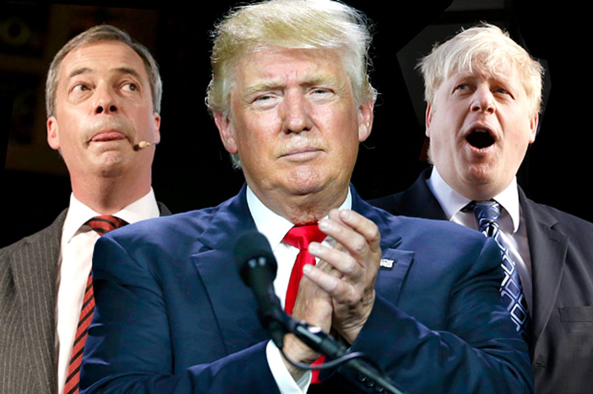 Nigel Farage, Donald Trump, Boris Johnson   (AP/Kirsty Wigglesworth/David Zalubowski/Photo montage by Salon)