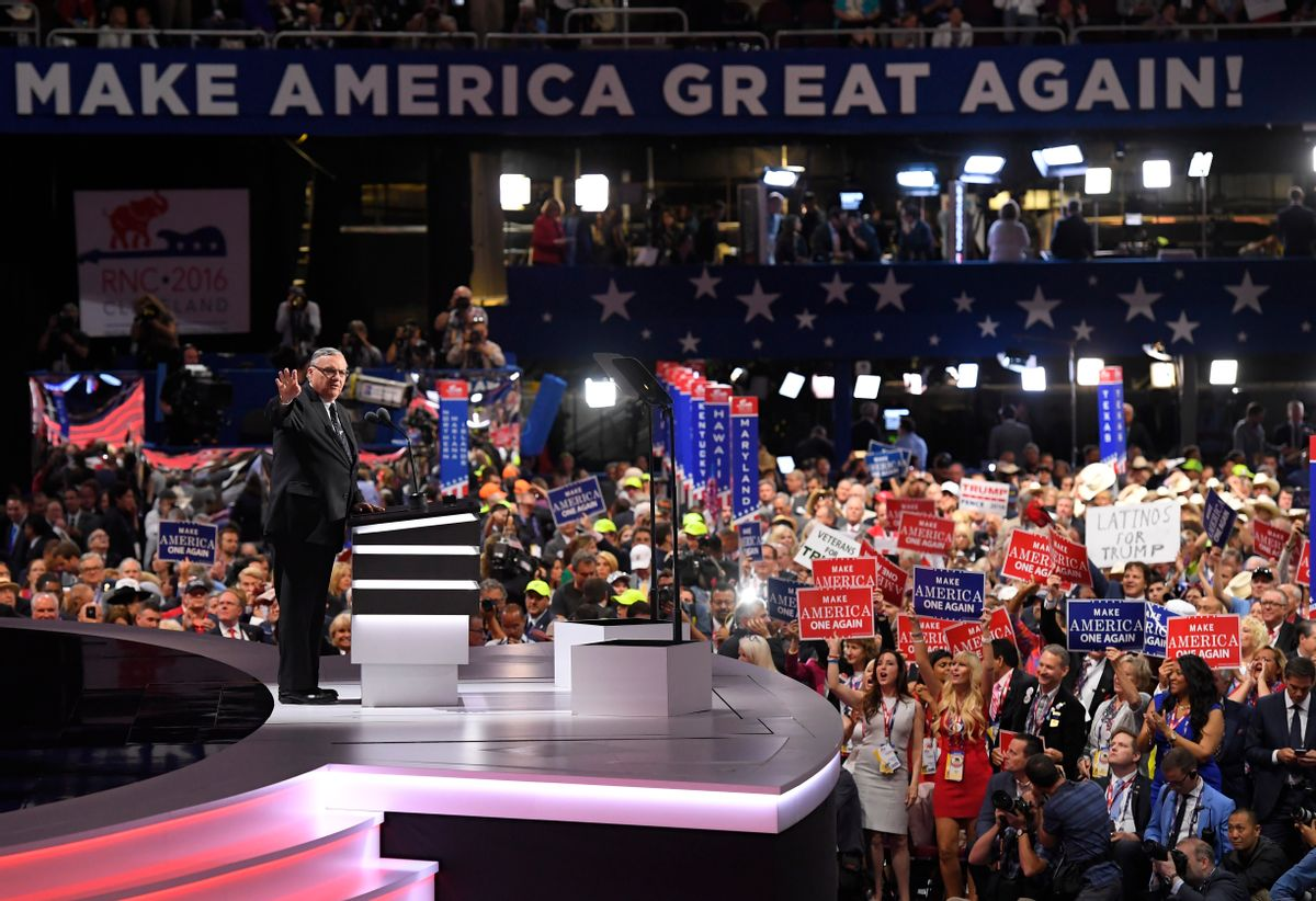 Sheriff Joe Arpaio of Arizona speaks during the final day of the Republican National Convention in Cleveland, Thursday, July 21, 2016.  (AP)