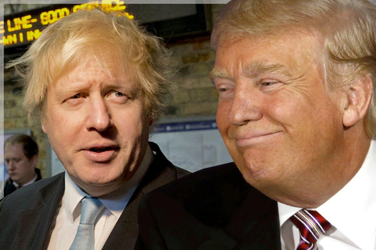 Boris Johnson; Donald Trump   (AP/Alastair Grant/Reuters/Carlo Allegri/Photo montage by Salon)