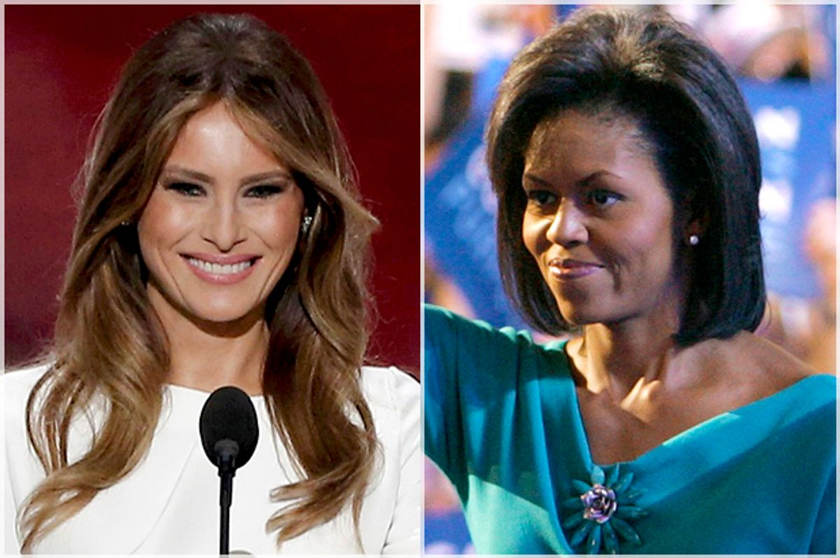 Melania Trump; Michelle Obama   (Reuters/Larry Downing)