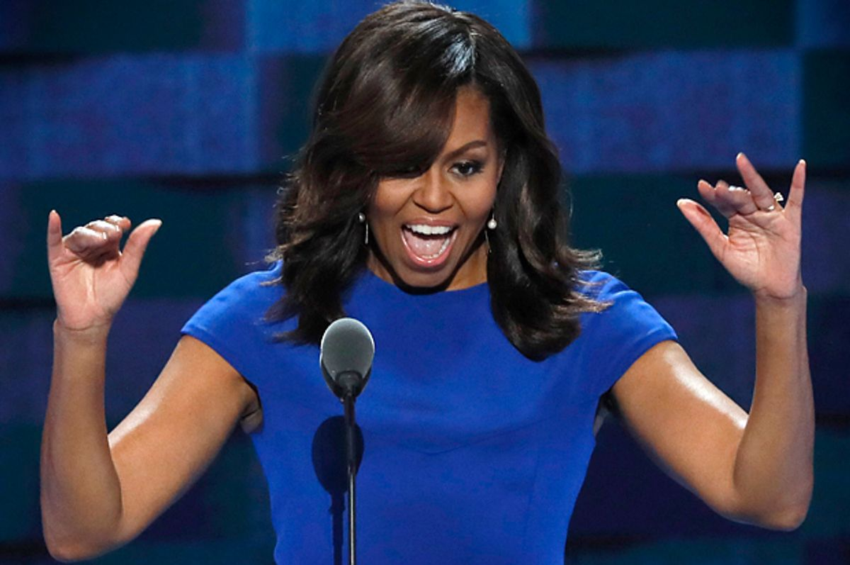 Michelle Obama speaks at the Democratic National Convention in Philadelphia, July 25, 2016.   (Reuters/Mike Segar)