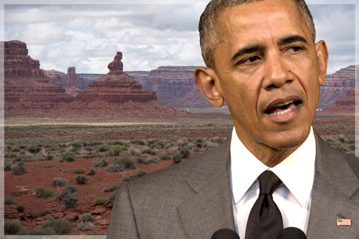Barack Obama; Bears Ears, UT.   (AP/Desmond Boylan/<a href='http://www.shutterstock.com/gallery-4244716p1.html'>VinceBradley</a> via <a href='http://www.shutterstock.com/'>Shutterstock</a>/Photo montage by Salon)
