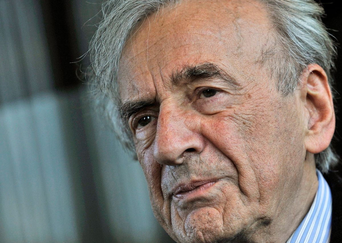 FILE - In this Dec. 10, 2009 file photo, Elie Wiesel listens during an interview with The Associated Press in Budapest, Hungary.  Wiesel, the Nobel laureate and Holocaust survivor has died. His death was announced Saturday, July 2, 2016  by Israel's Yad Vashem Holocaust Memorial. (AP Photo/Bela Szandelszky)