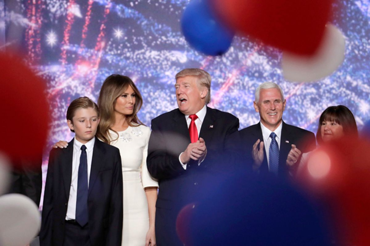 Barron Trump, Melania Trump, Donald Trump, Mike Pence and Karen Pence at the Republican National Convention in Cleveland, July 21, 2016.   (AP/J. Scott Applewhite)