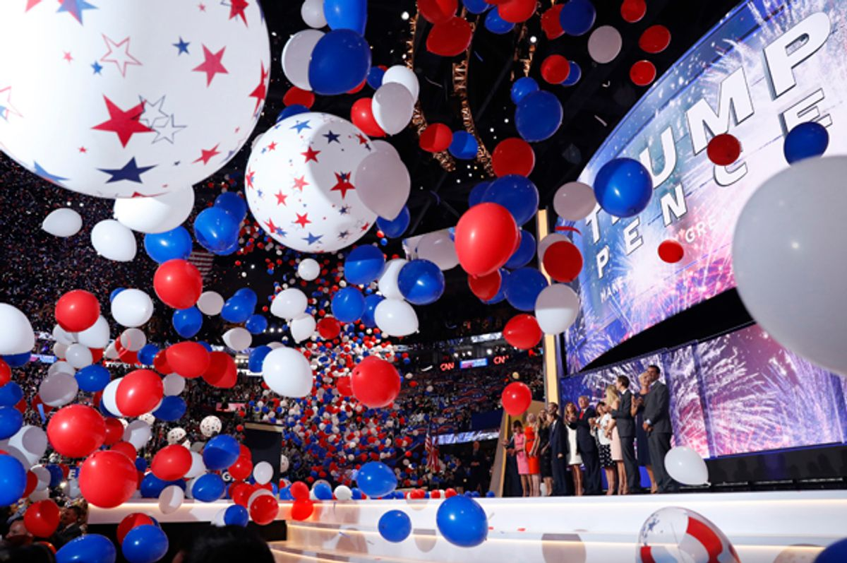 Balloons fall on the final session of the Republican National Convention in Cleveland, July 21, 2016.   (Reuters/Aaron P. Bernstein)