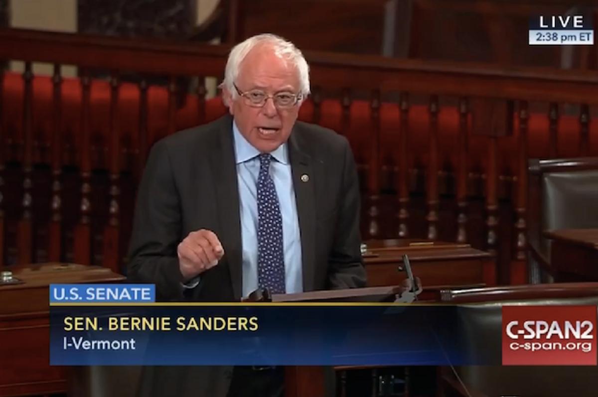 Bernie Sanders speaking on the Senate floor against the PROMESA bill on Wednesday, June 29, 2016  (C-SPAN)