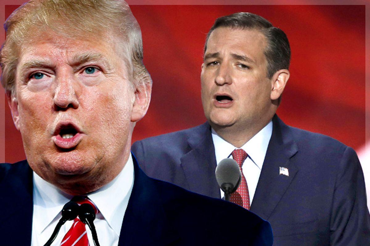 Donald Trump; Ted Cruz (AP/John Locher/Reuters/Mike Segar/Photo montage by Salon)