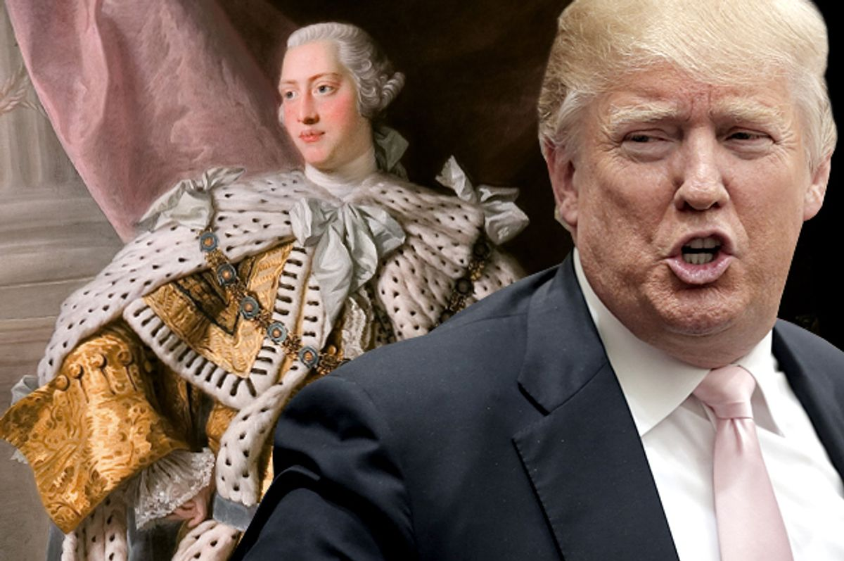 King George III, Donald Trump   (Wikimedia/Reuters/Chris Keane/Salon)