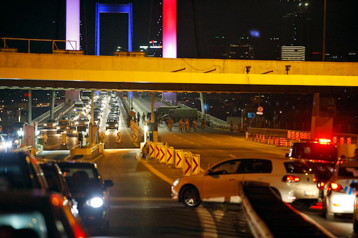 Turkish soldiers block Istanbul's Bosporus Bridge after a reported military coup attempt on Friday, July 15, 2016  (AP/Emrah Gurel)