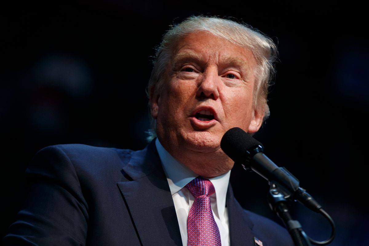 Republican presidential candidate Donald Trump speaks during a campaign rally at Xfinity Arena of Everett, Tuesday, Aug. 30, 2016, in Everett, Wash. (AP Photo/Evan Vucci) (AP)