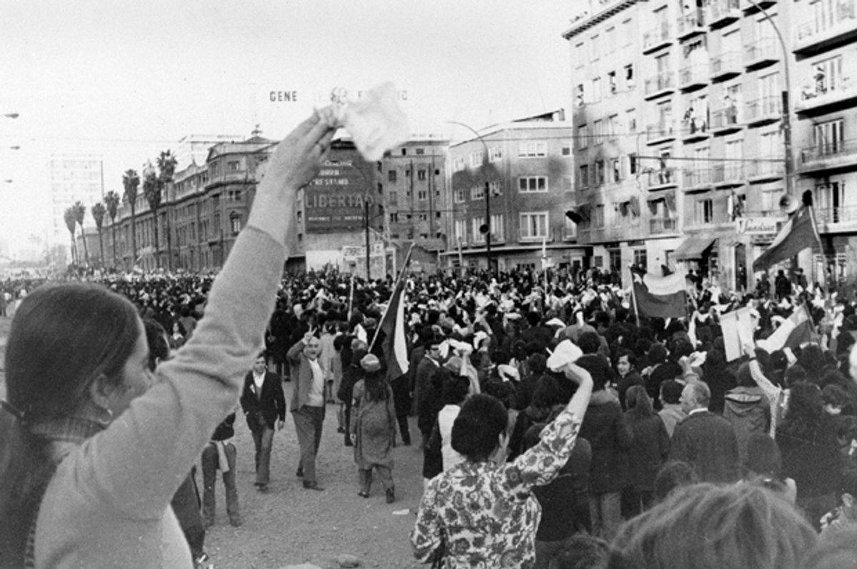 Anti-Marxist women wave white handkerchiefs in Santiago, Chile, Sept. 5, 1973, as they demand the resignation of President Salvador Allende.    (AP)