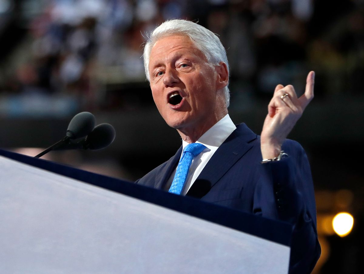 FILE - In this July 26, 2016 file photo, former President Bill Clinton speaks during the second day session of the Democratic National Convention in Philadelphia. Clinton will deliver a eulogy at the Rhode Island funeral for a longtime friend and major Democratic donor and fundraiser. The service for Mark Weiner will be held Tuesday, Aug. 2, at noon at the Temple Beth-El synagogue in Providence. (AP Photo/Carolyn Kaster, File) (AP)