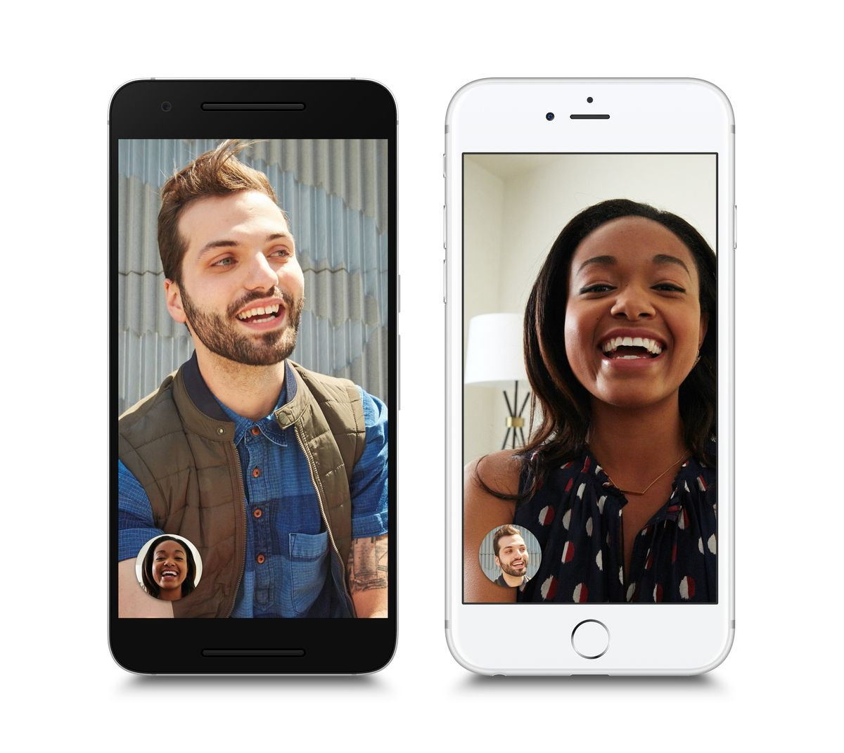 This image provided by Google shows its video chatting app on mobile devices. The app, dubbed Duo, represents Google's response to other popular video calling options, including Apple's FaceTime, Microsoft's Skype and Facebook's Messenger app. The new app, announced in May, is being released Tuesday, Aug. 16, 2016, as a free service for phones running on Google's Android operating system as well as Apple's iPhones. (Google via AP) (AP)