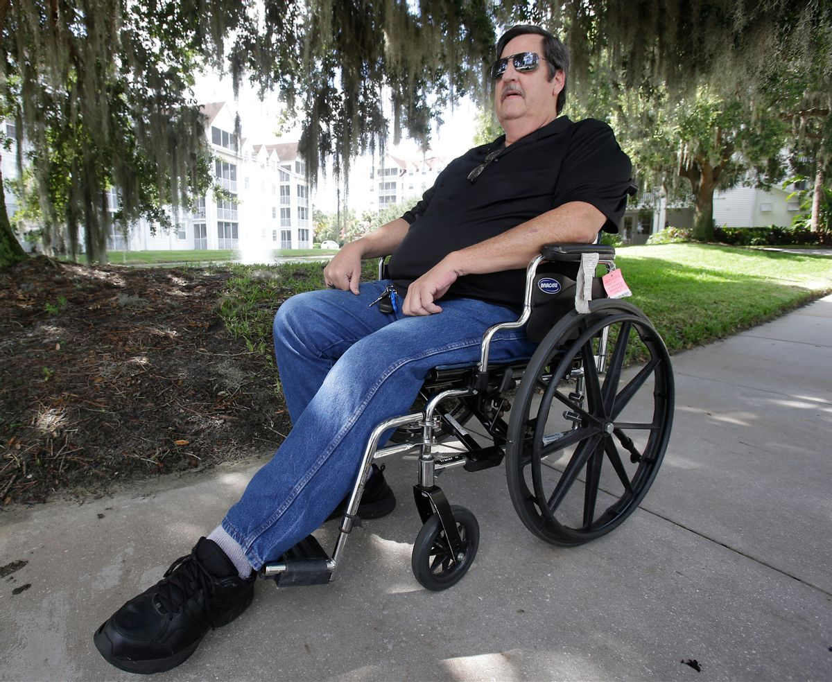 Bruce Bradford spends time outdoors during a holiday visit in Orlando, Fla., on Thursday, June 23, 2016. In January, the 58-year-old longtime Republican and Donald Trump supporter qualified for Social Security disability, which allowed him to buy health insurance through the Affordable Care Act. (AP Photo/John Raoux) (AP)