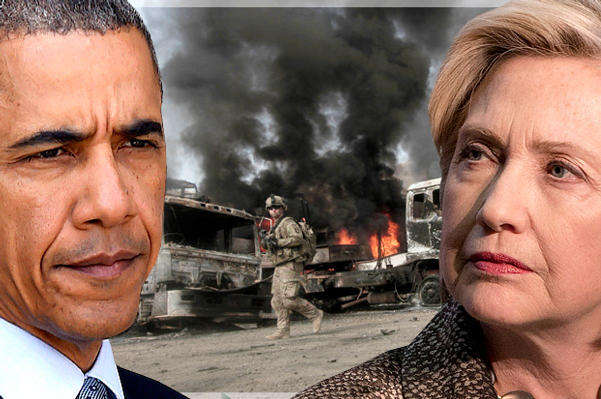 Barack Obama; Hillary Clinton   (AP/Seth Wenig/Jacquelyn Martin/Reuters/Parwiz Parwiz/Photo montage by Salon)