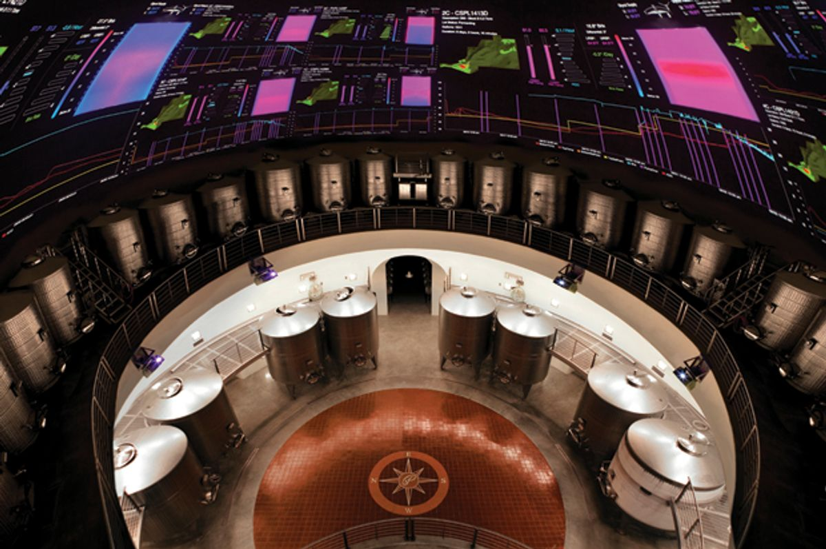 The super computer display on the dome of Palmaz fermentation cave