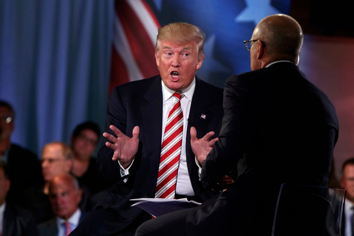 Republican presidential candidate Donald Trump speaks with 'Today' show co-anchor Matt Lauer at the NBC Commander-In-Chief Forum held at the Intrepid Sea, Air and Space museum aboard the decommissioned aircraft carrier Intrepid, New York, Wednesday, Sept. 7, 2016. (AP Photo/Evan Vucci) (AP)