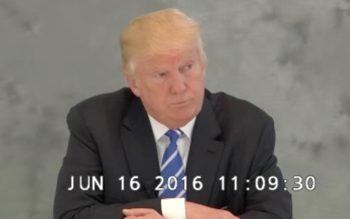 Donald Trump gives a deposition in lawsuit against Geoffrey Zakarian, June 16, 2016 (Buzzfeed)