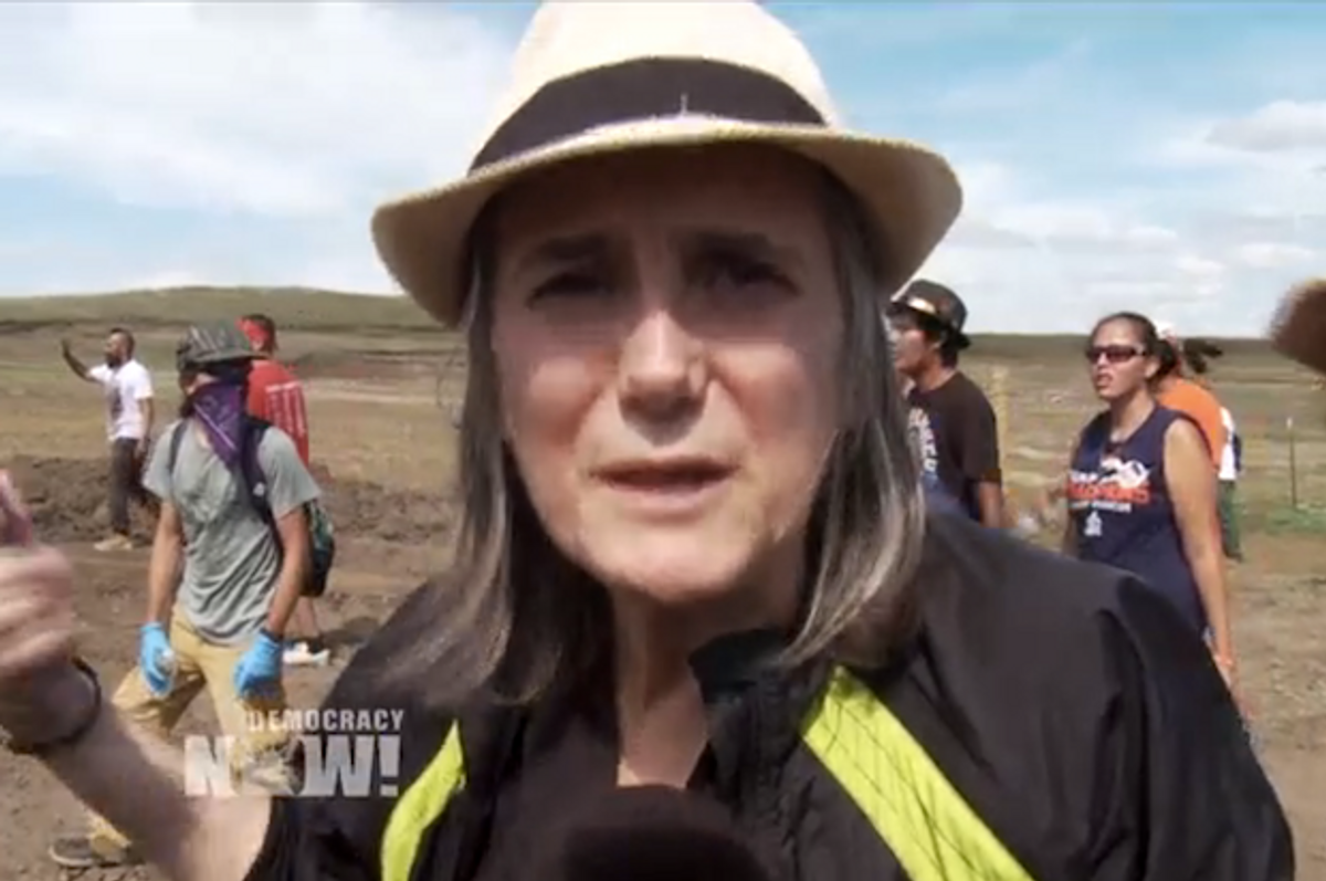 Democracy Now host Amy Goodman at a Dakota Access pipeline protest in North Dakota on Saturday, Sept. 3, 2016  (Democracy Now)